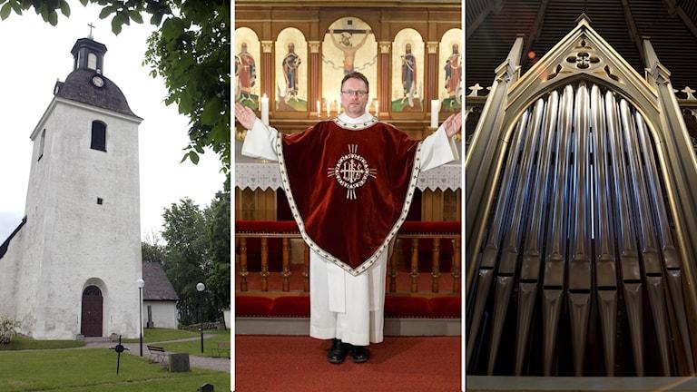 Tre bilder: kyrka, präst och kyrkorgel