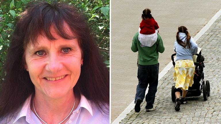 Två bilder. Ett porträtt på en mörkhårig kvinna och en bild på föräldrar som går med ryggen mot kameran med barnvagn och ett barn på ena förälderns axlar.