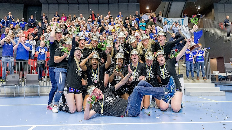 Engelholms volleybollsällskaps lagbild efter sm-guldet 2017.