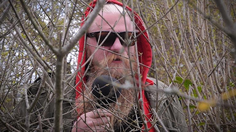 Man med skägg, röd luva och solglasögon står i ett buskage.