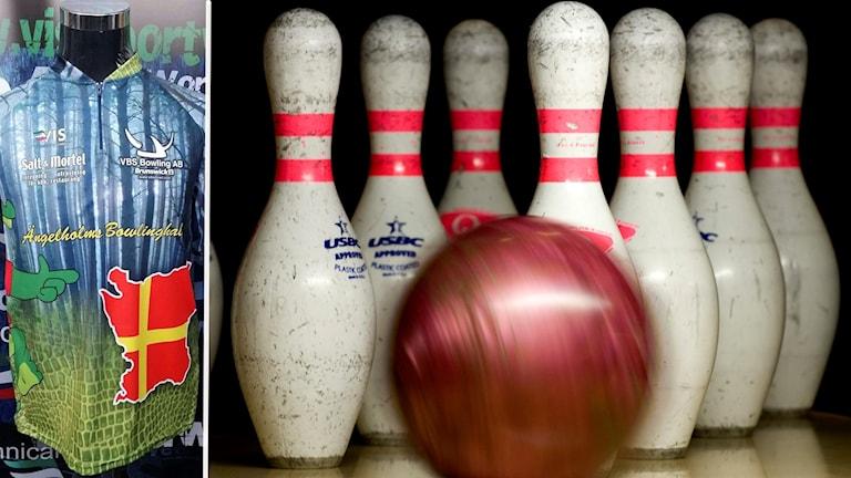 Två bilder: en sporttröja och en bild med bowlingklot och käglor.