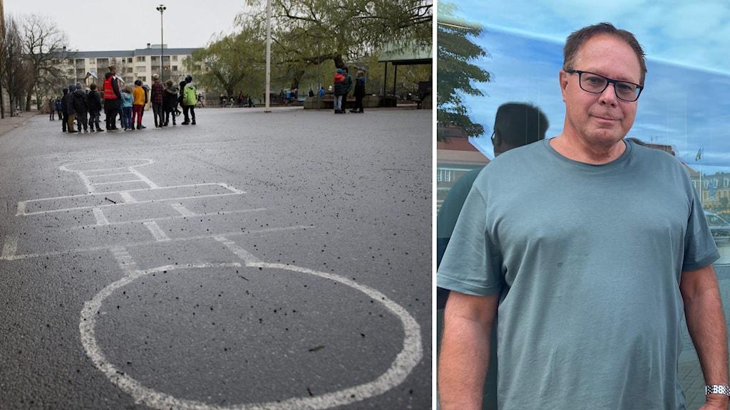 Till höger: skolgård med kritmålning på asfalten. En grupp barn står med lärare en bit bort. Till vänster: Man i grön t-shirt och glasögon ser in i kameran