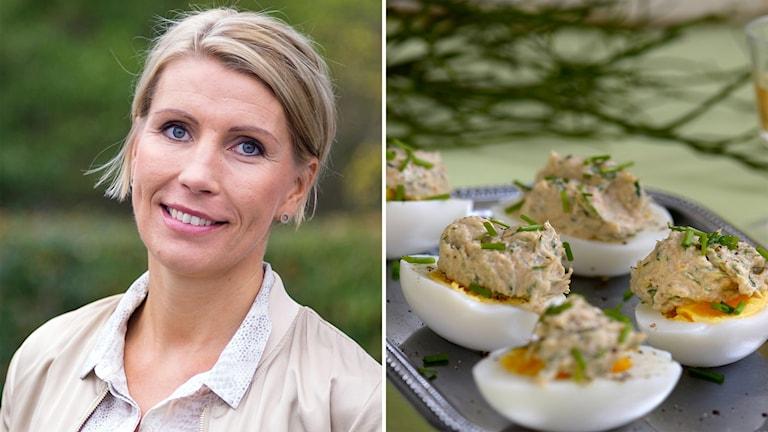 Två bilder. En blond kvinna som ler och tittar in i kameran. Den andra bilden är halva kokta ägg med något beige klickat på sig.