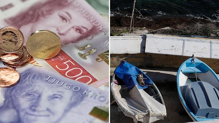 Sedlar och mynt och så båtar i en hamn