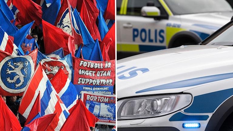 Två bilder: en bild från fotbollshejarklack och en bild på polisbilar
