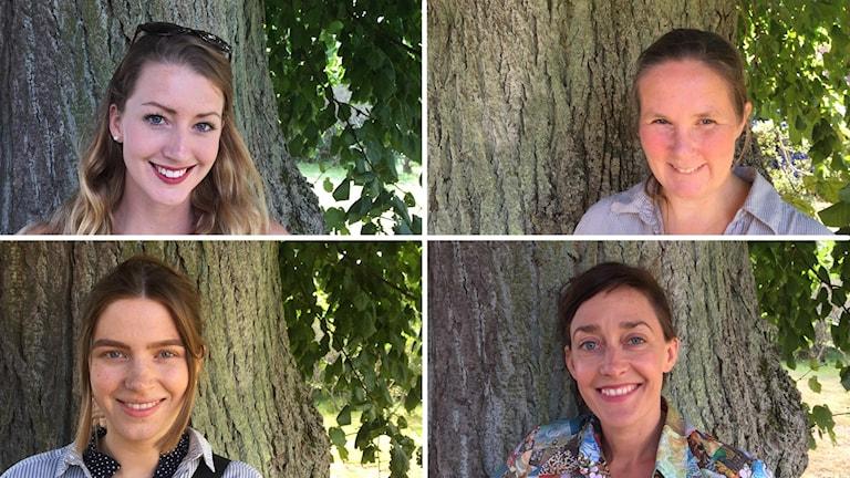 Fyra porträtt på fyra olika kvinnor.