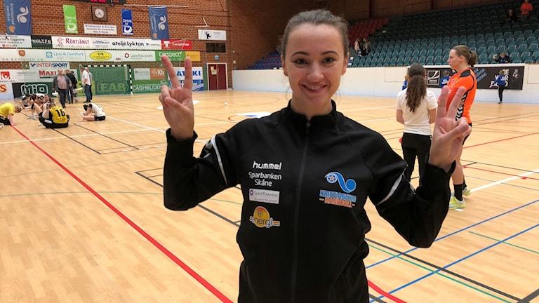 Julia Golubeva i idrottshallen i Kristianstad.
