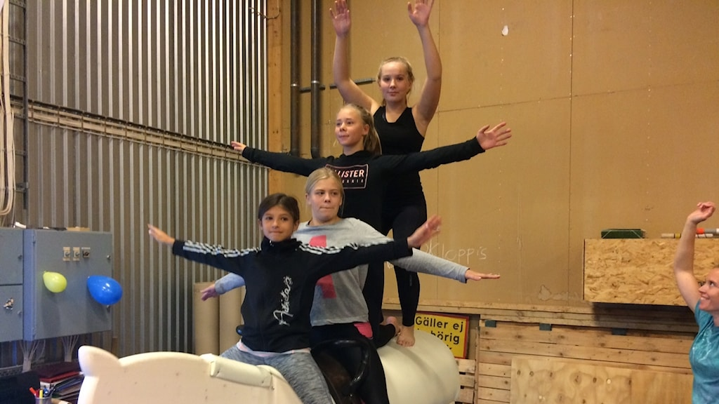 Liv Farajallah, Johanna Anderberg, Johanna Olsson och Hilda Haglund på landets första galopperande trähäst som invigdes på fredagen.