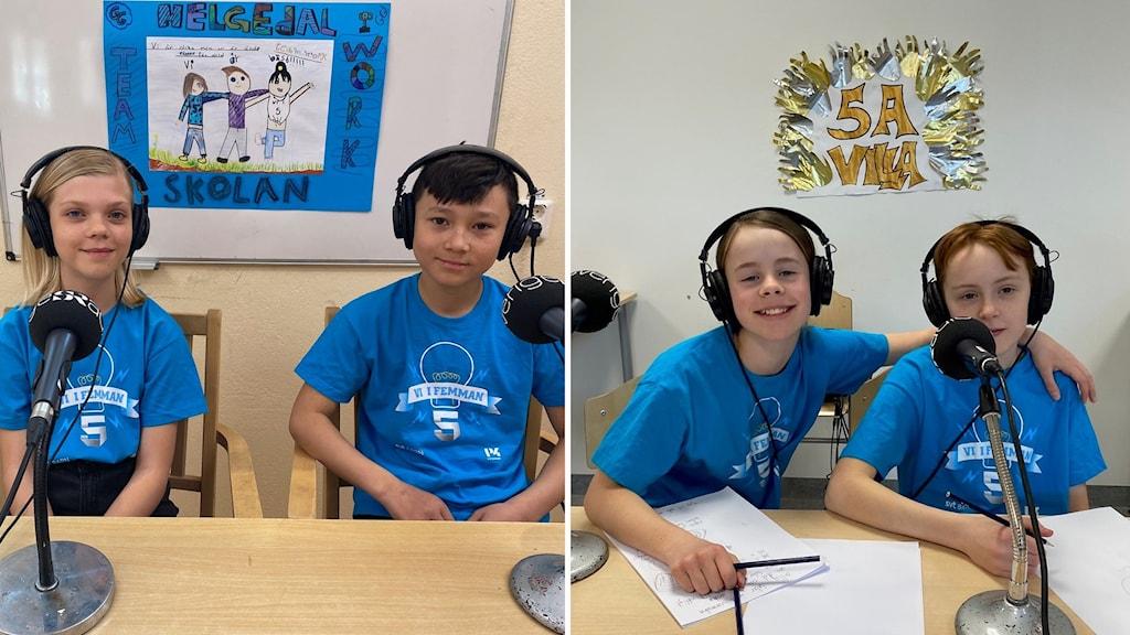 Ett montage av fyra barn med blåa t-shirts med hörlurar framför mickar.