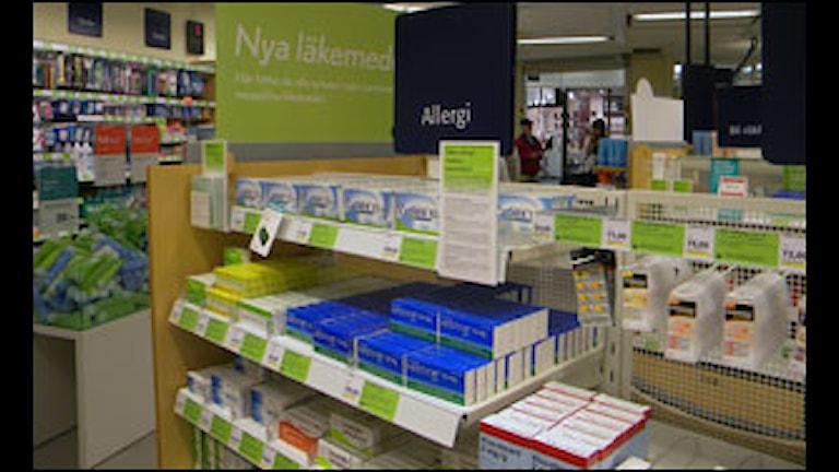 Laddat för pollenallergiker på apotekets hyllor. Foto: Arlette Jarl/SR Kristianstad