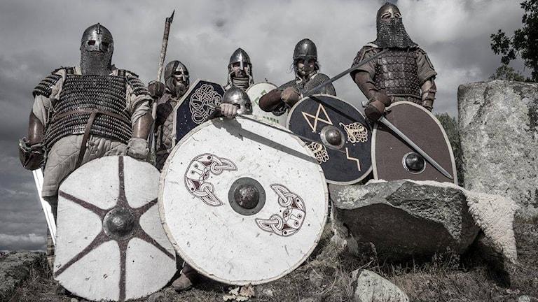 Vikingar med hjälmar och sköldar