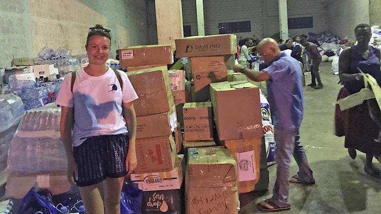 Madeleine Nählstedt mitt under hjälparbetet i Maputos hamn. Foto: Privat.