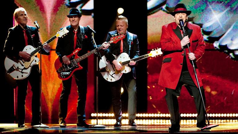 Fyra av originalmedlemmarna i Lasse Stefanz