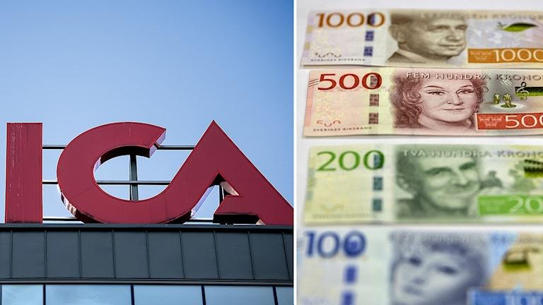 Två bilder. Till höger ICAs logga och till vänster svenska sedlar.