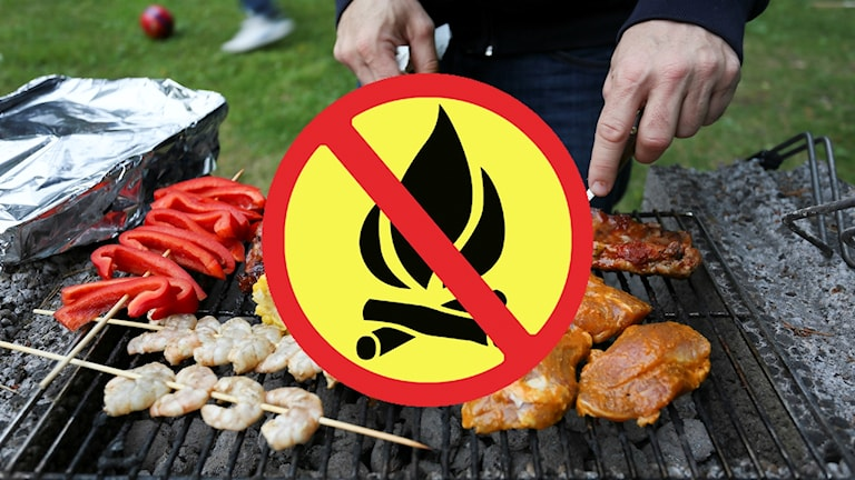 Grillning med förbudsskylt