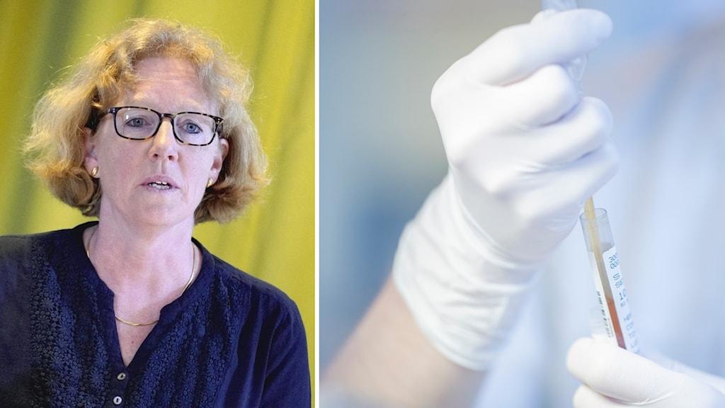 Eva Melander som är regionens smittskyddsläkare. Bild på händer som håller i provrör.