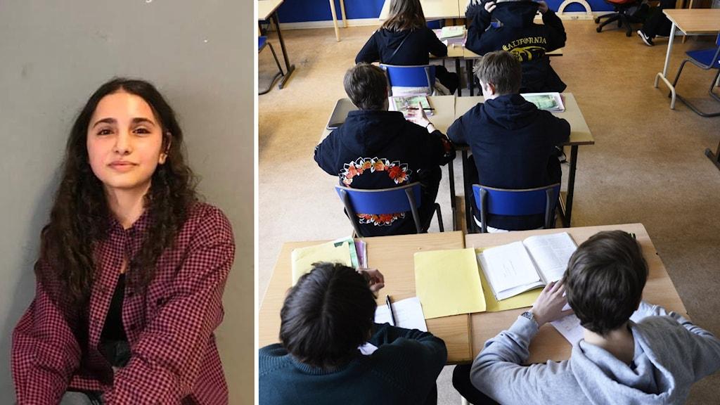 Till vänster: Tjej med rödrutig skjorta tittar in i kameran. Till höger: Barn sitter med ryggen mot kameran i skolbänkar med böcker framför sig.