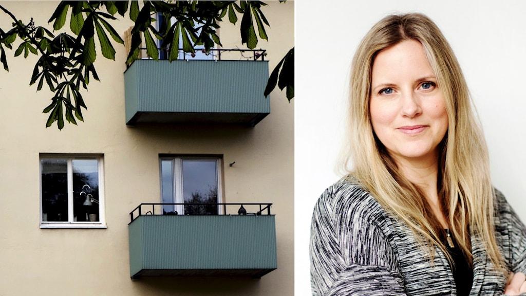 Ett montage av ett hyreshus och en bild på en kvinna med blont hår.
