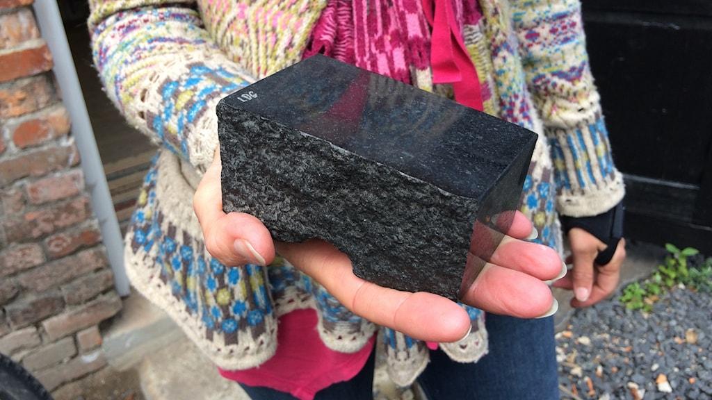 Svart sten i en hand