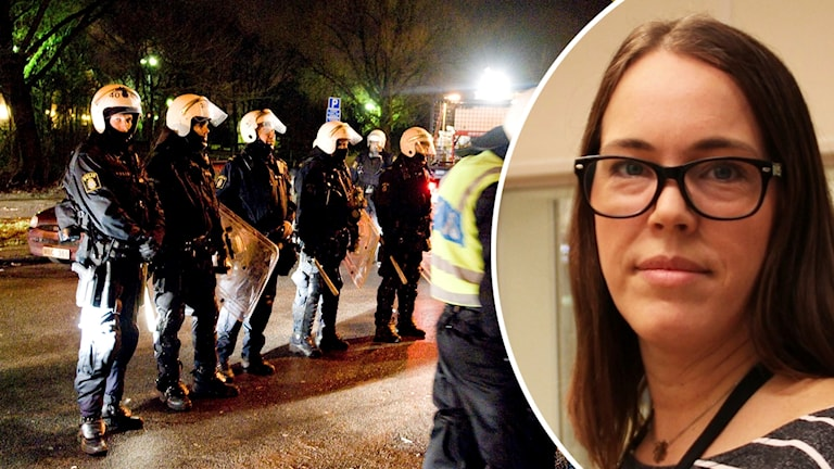 Mörkhårig kvinna med glasögon på en infälld bild på en annan bild med kravallutrustade poliser på rad en kväll.