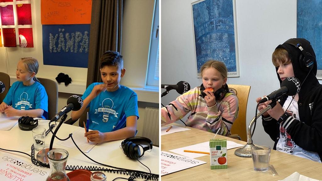 Ett montage av fyra barn som sitter vid två olika bord, med sladdar, hörlurar och mikrofoner.