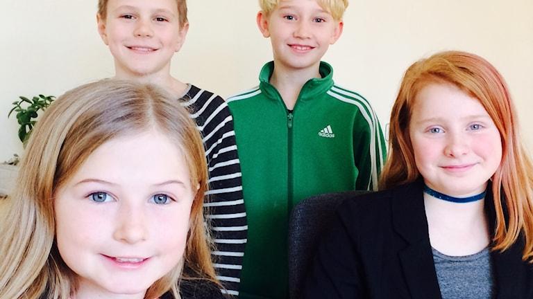 Simon, Albin, Maja och Adelia i fyran på Södra Utmarkens skola i Ängelholm.