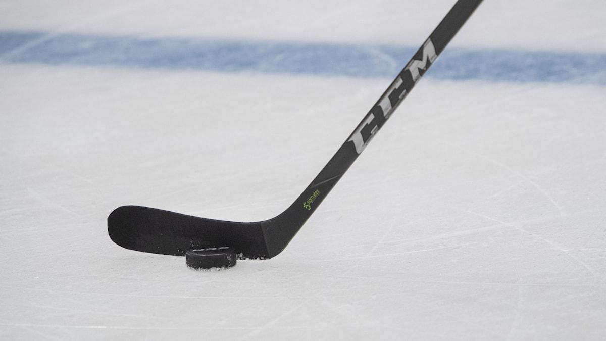 en svart hockeyklubba med en puck intill på  is