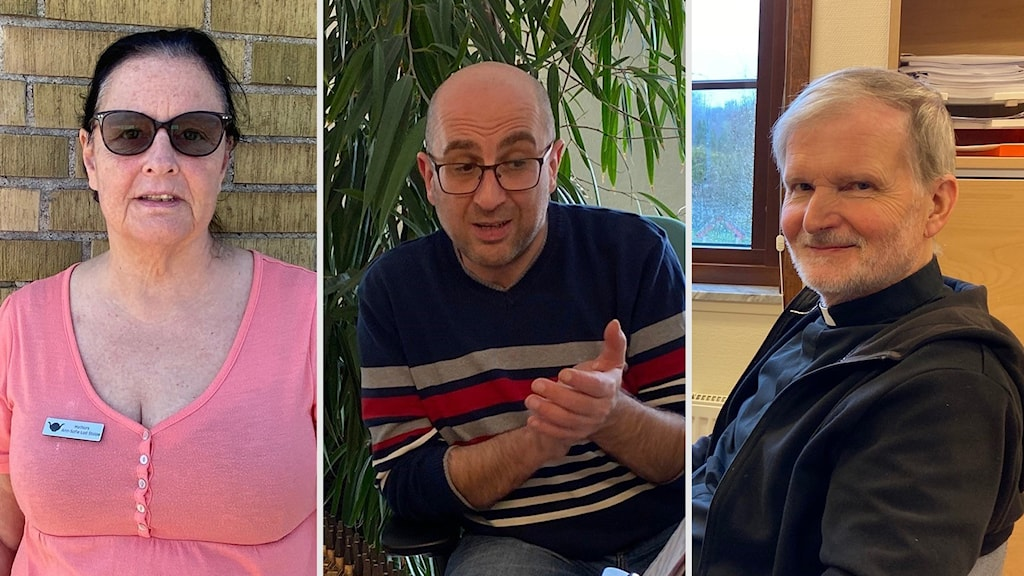 Bilden är ett montage. Från vänster, en kvinna som står utomhus med solglasögon, i mitten en medelålders man som sitter inomhus med en växt i bakgrunden, till höger en man med prästkrage som sitter inomhus.