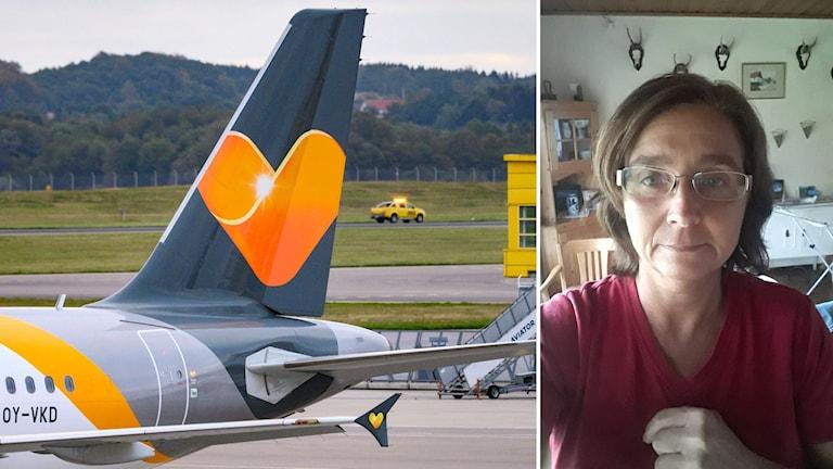 Flygplan och kvinna