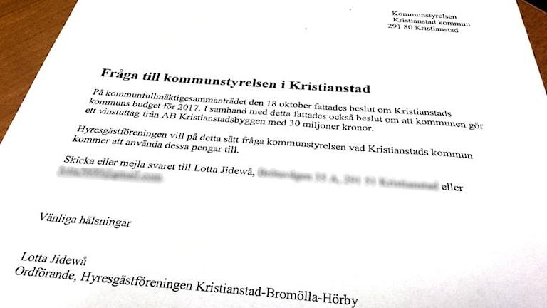 Hyresgästföreningen vill ha svar från Kristianstad kommun.