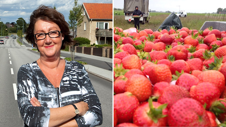 Kvinna och jordgubbar