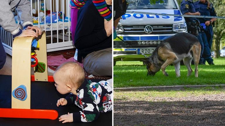 Två bilder. En familjbild och en polisbild.