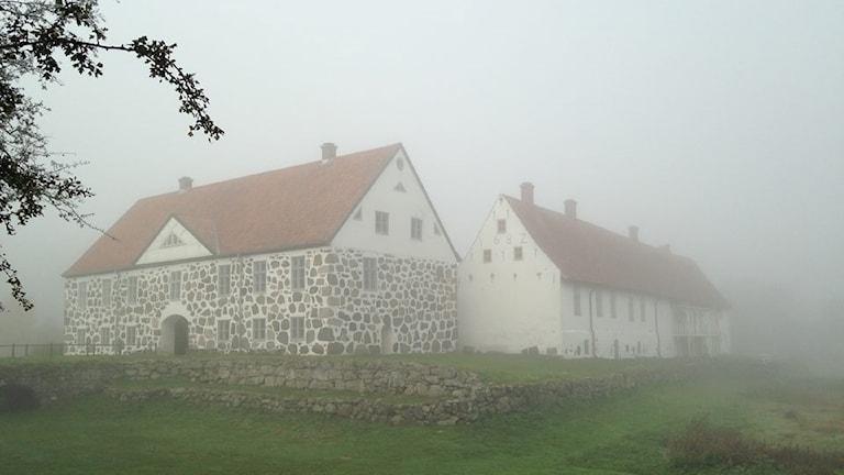 Gammal stenbyggnad i dimma