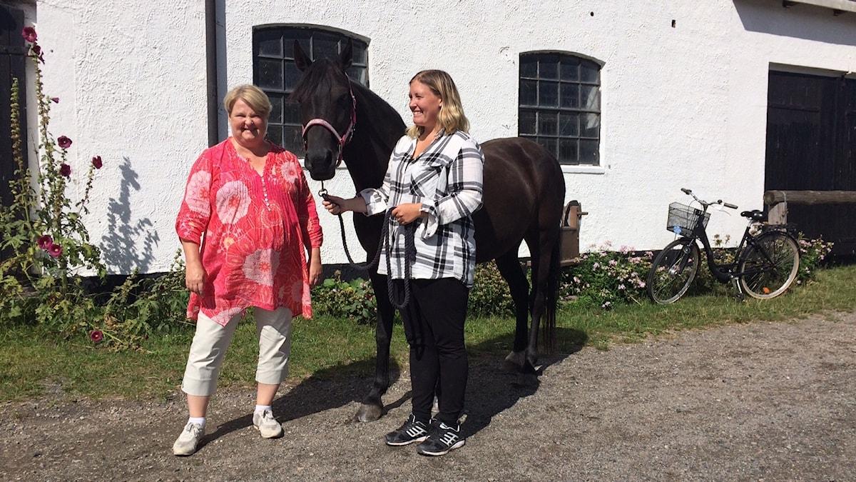 Suzanne Grenz, hästen Amber och Katarina Jönsson från Österlens ridklubb.