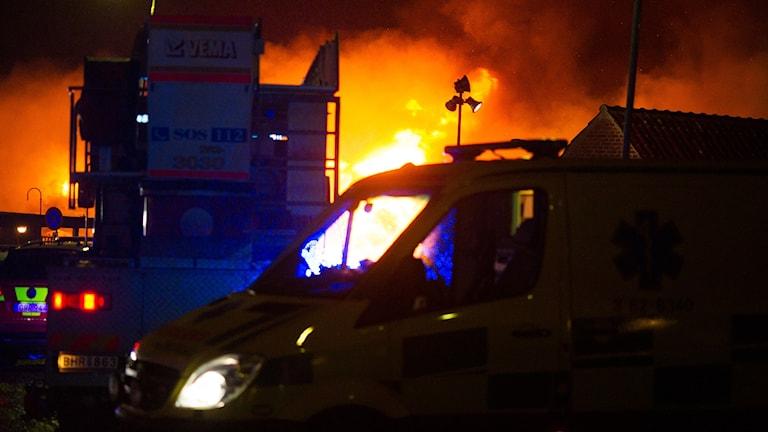 Brand i centrala Simrishamn.