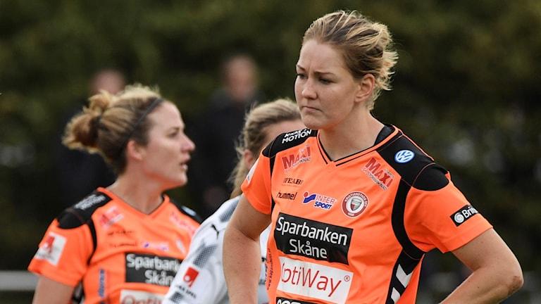 Mia Carlsson, fotbollsspelare i Kristianstads DFF. Foto: Johan Nilsson/TT.