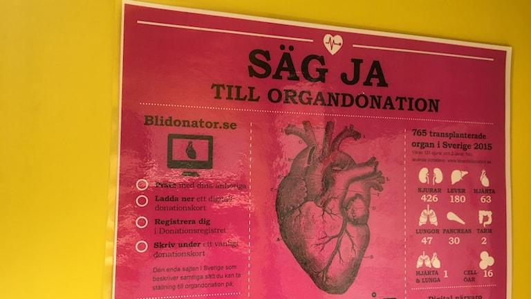 Ett rosa papper med texten säg ja till organdonation och en bild på ett mänskligt hjärta
