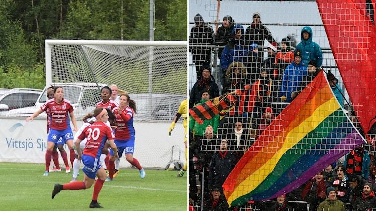 Två bilder. Kvinnliga fotbollsspelare i röda och blå kläder på en fotbollsplan. Regnbågsfärgad flagga på en fotbollsläktare.