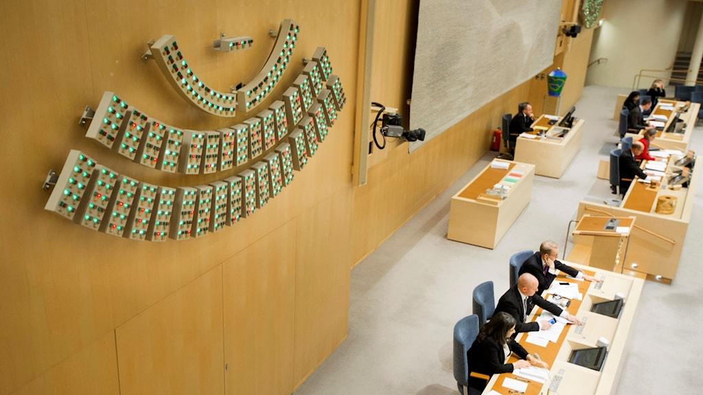 Voteringstavlan i riksdagen som visar hur ledamöterna röstat. Foto: Melker Dalstrand/Sveriges riksdag.