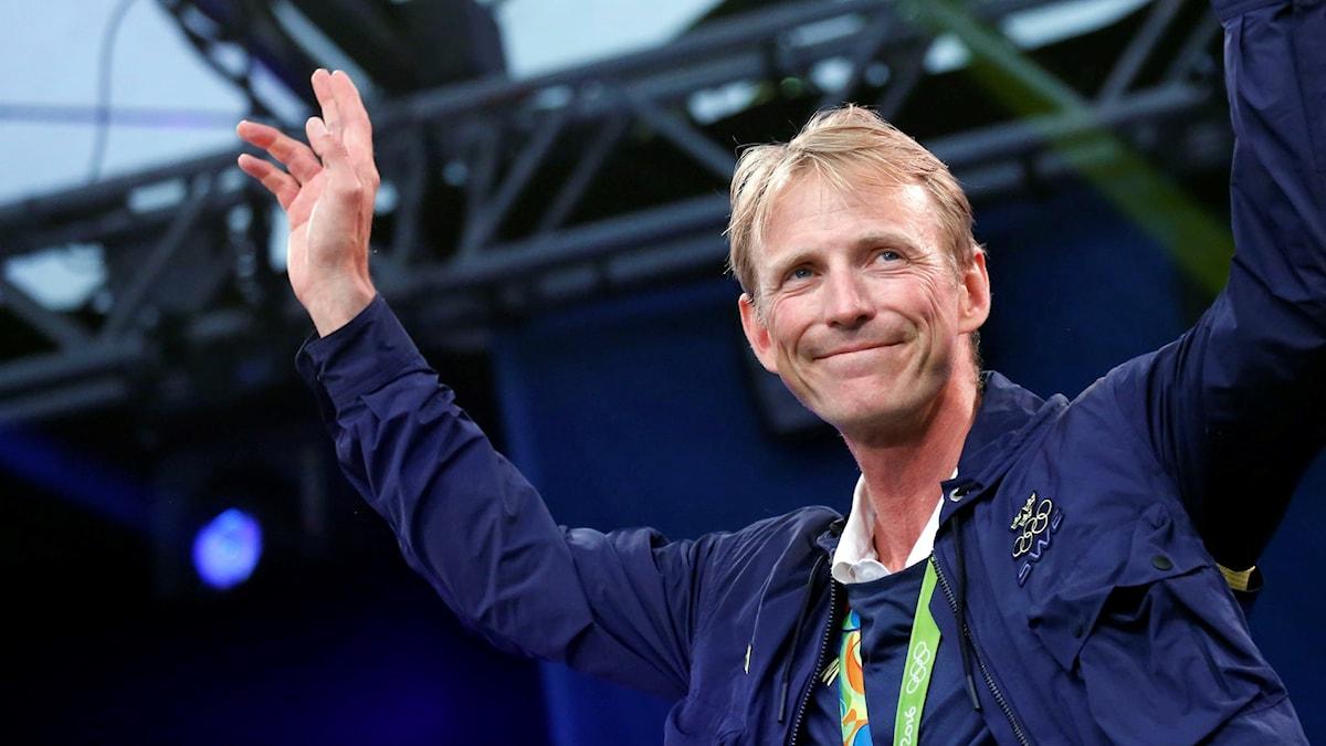 Hoppryttaren och OS-silvermedaljören Peder Fredricson i Kungsträdgården
