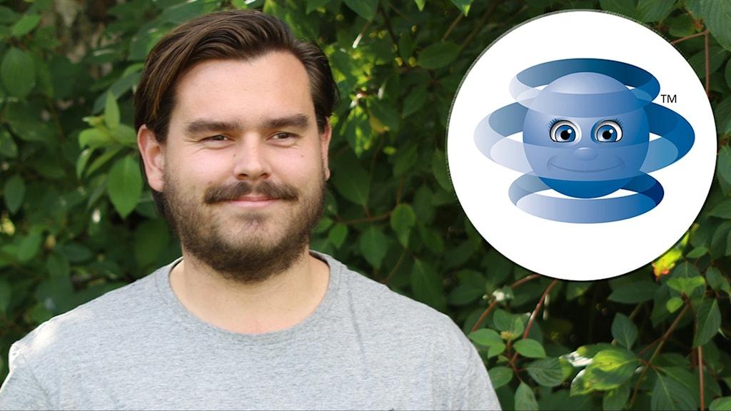 Hampus Månsson, digitaliseringsstrateg i Tomelilla kommun och en illustration på roboten Robin.