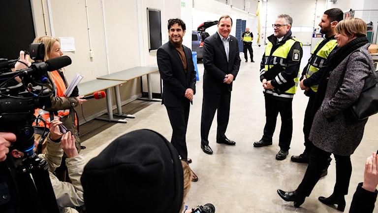 statminister Stefan Löfven och civilminister Ardalan Shekarabi presskonferens vid Tullverket i Malmö.