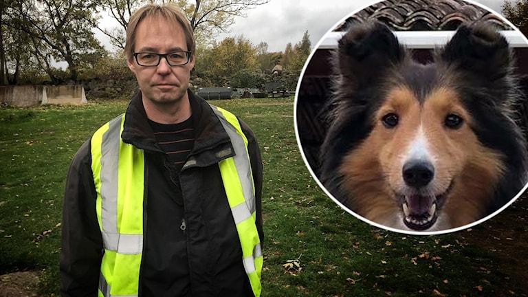 Man med reflexväst och infälld hundbild