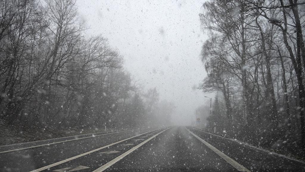 Snöväder i april mot bilruta och på väg
