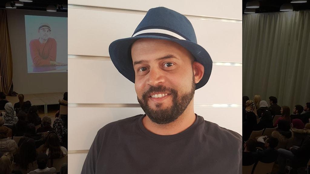 Bildmontage: Porträtt bild på skäggig man med hatt och en mörk bakgrundsbild från en föreläsningssal.
