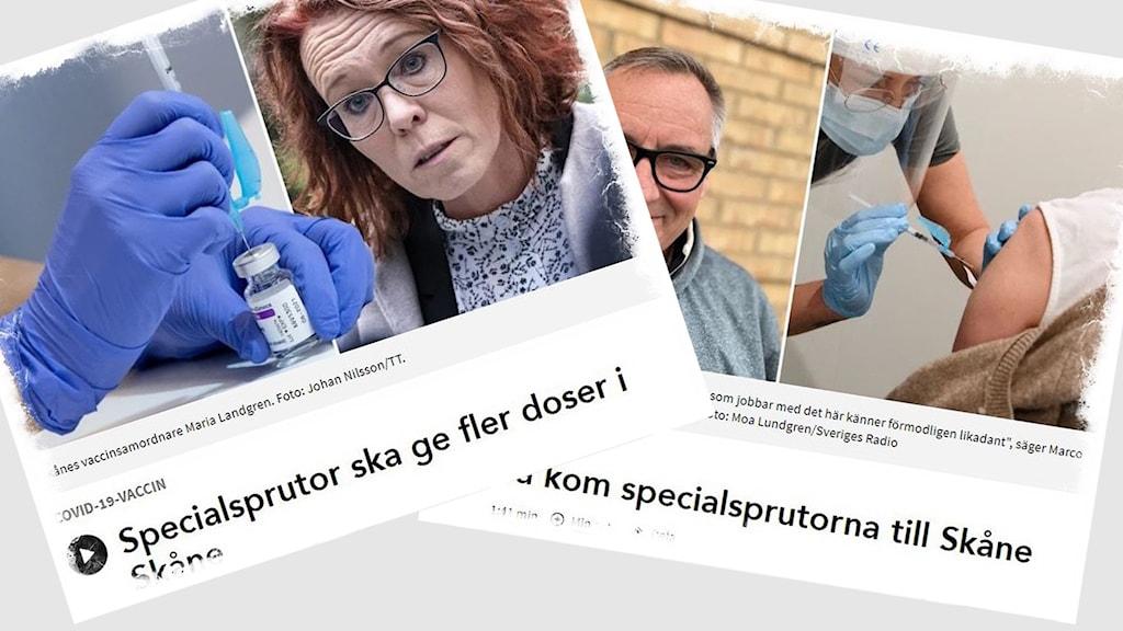 Montage med skärmdumpar från två artiklar om specialsprutor i Region Skåne.