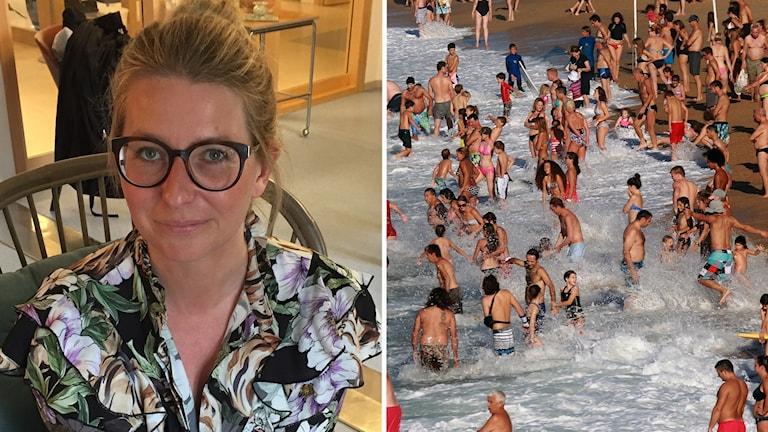 Två bilder: kvinna med uppsatt hår och glasögon tittar in i kameran och en andra bild med människor på en badstrand.