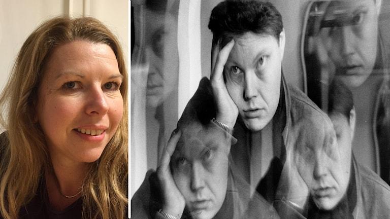 Två bilder, ett porträtt på en kvinna och en svartvit bild med ett ansikte flera gånger.