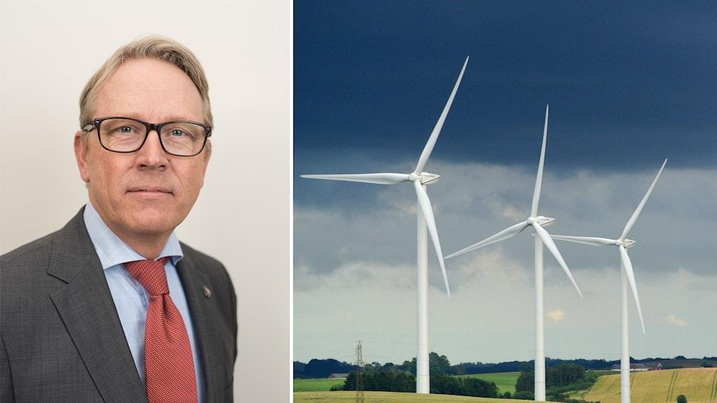 Till vänster en man med kostym och glasögon, till höger en bild på tre vindkraftverk under en mörk himmel.