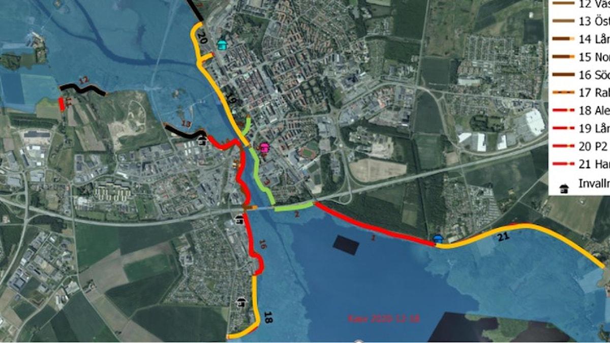 Karta över vallar i Kristianstad
